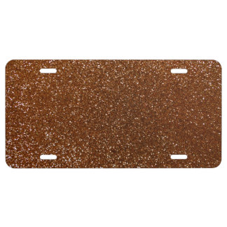 Chocolate brown glitter license plate