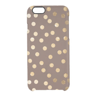 Chocolate Brown Gold Glitter Dots Clear Phone Case Uncommon Clearly™ Deflector iPhone 6 Case