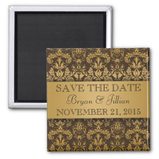 Chocolate Brown & Gold Regal Damask Save the Date 2 Inch Square Magnet