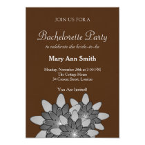 Chocolate Brown Gray Floral Lotus Bachelor Party Card