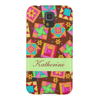 Chocolate Brown Green Patchwork Quilt Block Art Galaxy S5 Cover