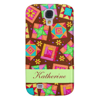 Chocolate Brown Green Patchwork Quilt Block Art Samsung Galaxy S4 Covers