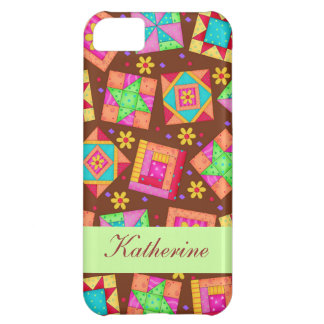 Chocolate Brown Green Patchwork Quilt Block Art Cover For iPhone 5C