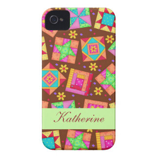 Chocolate Brown Green Patchwork Quilt Block Art iPhone 4 Case