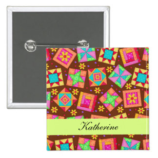 Chocolate Brown Green Patchwork Quilt Name Badge Pinback Button