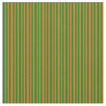 [ Thumbnail: Chocolate Brown & Green Stripes Pattern Fabric ]