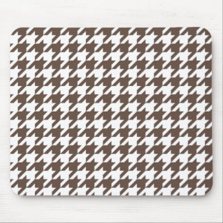 Chocolate Brown Houndstooth Mouse Pad