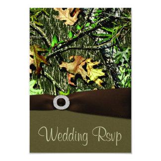 Chocolate Brown Hunting Camo Wedding RSVP Cards
