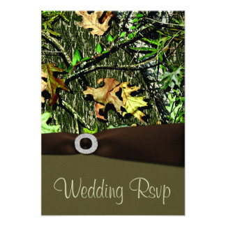 Chocolate Brown Hunting Camo Wedding RSVP Cards Personalized Invites