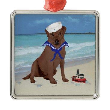 Beach Themed Chocolate Brown Labrador Retriever Metal Ornament