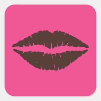 Chocolate Brown Lipstick Print Pink Large Square Sticker