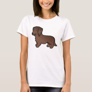Chocolate Brown Long Coat Dachshund Cartoon Dog T-Shirt