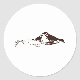 Chocolate Brown Lovebirds-Wedding Save the Date Classic Round Sticker