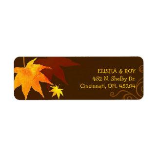 Chocolate Brown Maple Leaf Wedding Label