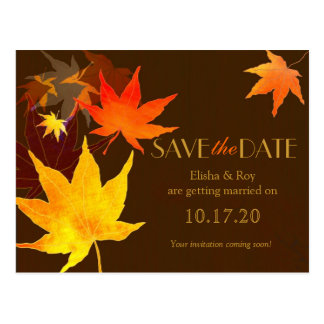 Chocolate Brown Maple Leaf Wedding Save the Date Postcard