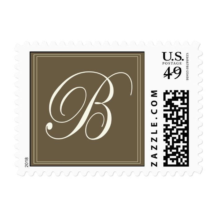 Chocolate brown monogram - Initial B Stamp