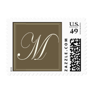 Chocolate brown monogram - Initial M Postage