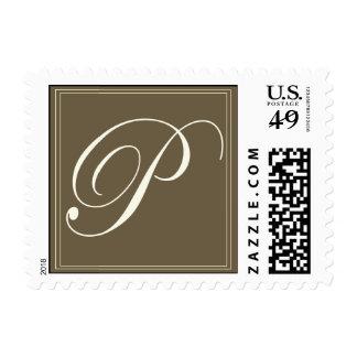 Chocolate brown monogram - Initial P Postage