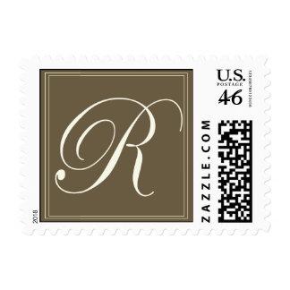 Chocolate brown monogram - Initial R Stamps