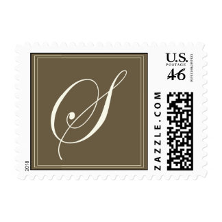 Chocolate brown monogram - Initial S Stamp