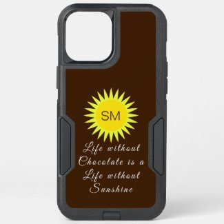 Chocolate Brown Monogram Life without Sunshine OtterBox iPhone Case by Sandyspider