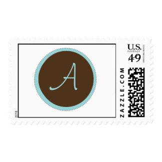 Chocolate Brown Monogram Postage