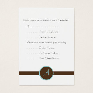 Chocolate Brown Monogram Reply Card