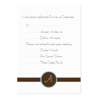 Chocolate Brown Monogram Reply Card Business Card Templates