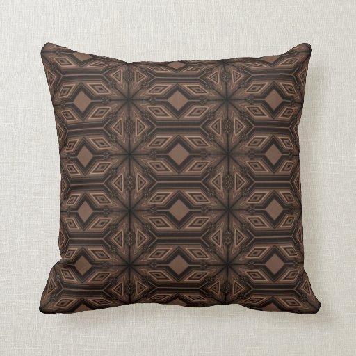 Chocolate Brown Mosaic Cotton Throw Pillow 16x16