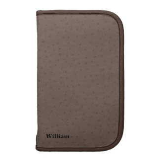 Chocolate Brown Ostrich Leather Look Folio Planners