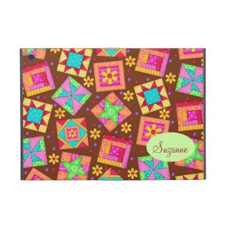 Chocolate Brown Patchwork Quilt Art Blocks iPad Mini Cover