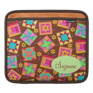 Chocolate Brown Patchwork Quilt Art Blocks Sleeves For iPads