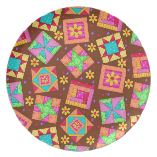 Chocolate Brown Patchwork Quilt Art Party Plate