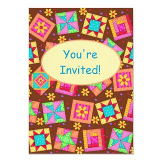 Chocolate Brown Patchwork Quilt Block Art Card