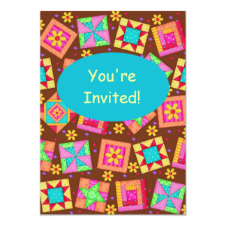 Chocolate Brown Patchwork Quilt Block Art Card
