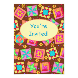 Chocolate Brown Patchwork Quilt Block Art 5x7 Paper Invitation Card