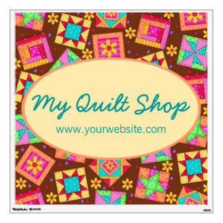 Chocolate Brown Patchwork Quilt Wall Sign Wall Sticker