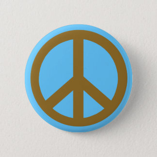 Chocolate Brown Peace Symbol Products Button