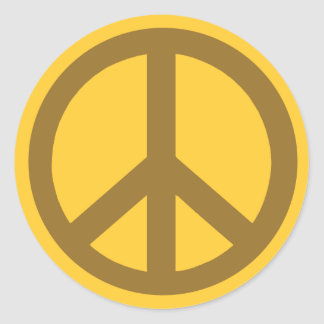 Chocolate Brown Peace Symbol Products Classic Round Sticker