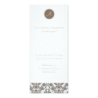 Chocolate Brown/Periwinkle Wedding Invitation