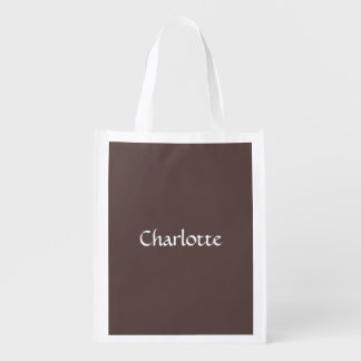 Chocolate Brown Personalized Reusable Grocery Bag
