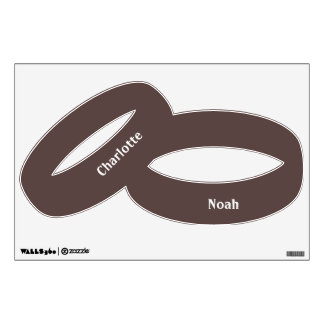 Chocolate Brown Personalized Wedding Ring Room Stickers
