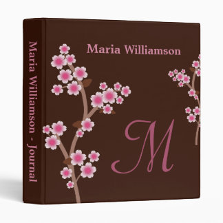Chocolate Brown Pink Cherry Blossom Binder