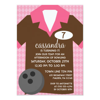 Chocolate Brown & Pink Join the Team Bowling Party Card