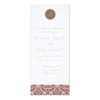 Chocolate Brown/Pink Wedding Invitation