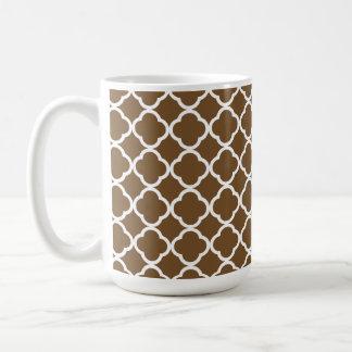 Chocolate Brown Quatrefoil Classic White Coffee Mug