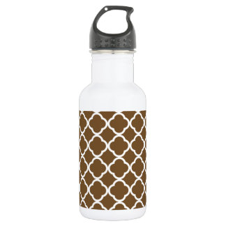 Chocolate Brown Quatrefoil Stainless Steel Water Bottle