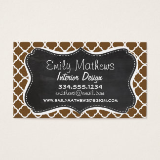 Chocolate Brown Quatrefoil; Vintage Chalkboard Business Card