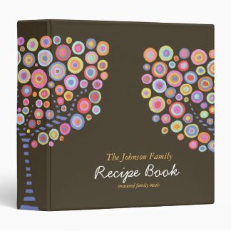 Chocolate Brown Retro Circle Tree Recipe Binder
