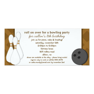 Chocolate Brown Roll Over Bowling Birthday Party Card